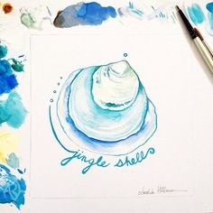 Day 2 of my gouache seashells challenge: the Jingle Shell. Do you have a favorite shell?  Copyright Amalia Hillmann