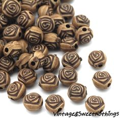 200+ Faux Wood Acrylic Rose Carved Rose Spacer Beads -P. Starting at $1 on Tophatter.com!