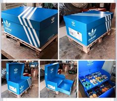 Made of docco wood, docco paint, printable vinyl sticker, and heavy duty wheels.. Weight of Boxes: 16 pairs 30kilos 20 pairs 38 kilos 26 pairs 50 kilos PRICES : 16 pairs php 7500 20 pairs php 15000 26 pairs php 18000 Payment process half down payment, full payment upon pickup or delivery. For more details call or txt.. +639155565211
