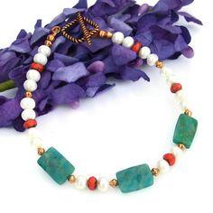 Handmade Bracelet Russian Amazonite Pearls Red Glass Gemstone Jewelry | ShadowDogDesigns - Jewelry on ArtFire