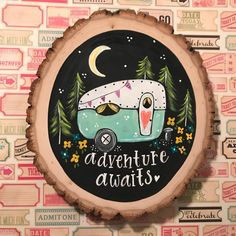 Your place to buy and sell all things handmade - Adventure Awaits Camper Mint, woodslice sign, vintage camper sign La mejor imagen sobre diy 100 par - Painted Ornaments, Wooden Ornaments, Wood Slice Crafts, Wood Circles, Guache, Chef D Oeuvre, Painted Rocks, Hand Painted, Painted Shoes