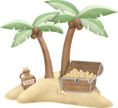 Treasure chest on island Pirate Rock, Pirate Kids, Clipart Boy, Cute Clipart, Max Steel, Angelina Ballerina, Polly Pocket, Decoration Pirate, Land Ho