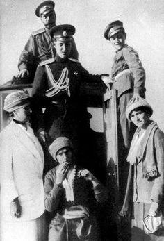 Empress Alexandra, Tsar Nikolai II, Grand Duke Dmitrii Pavlovich, Grand Duchess Tatiana, Tsarevich Alexei and Grand Duchess Olga