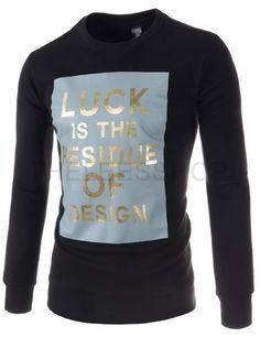 (RDLT18-BLACK) Mens Casual Slim Round Neck Logo Printed Napping Long Sleeve Tshirts