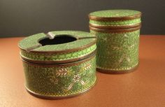 Antique Cloisonne Smoking Set // Humidor Tobacco Box and Ashtray // Enamel on Bronze // from Successionary, $180.00