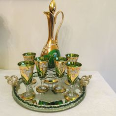 Exquisite Bottle Green Glass & Gilt Decanter Set with 6 Glasses & Mirrored Tray