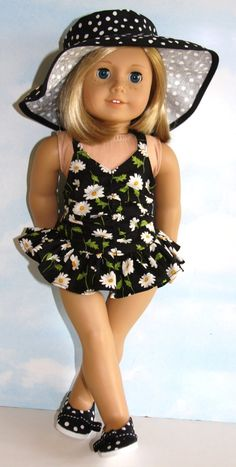 "18"" Doll / American Girl Black And White Daisy Print Bathing Suit With Floppy…"