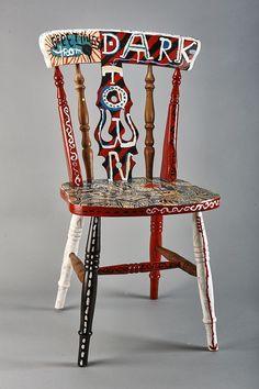 'Dark Town' handpainted chair by Jonny Hannah for Little Toller Books