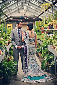 blue lengha with silver embroidery ♥ train lengha ♥ Bridal Lehenga ♥ bangles ♥ Indian ♥ fusion ♥ wedding ♥ dress Big Fat Indian Wedding, Indian Wedding Outfits, Bridal Outfits, Indian Bridal, Indian Outfits, Bridal Dresses, Indian Clothes, Indian Weddings, Bridal Shoes