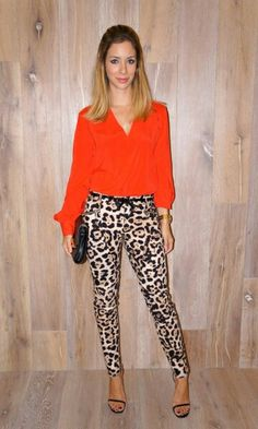 Femme Fatale look, Helena L Orange Pants Outfit, Leopard Pants Outfit, Leopard Print Outfits, Leopard Print Pants, Animal Print Outfits, Leopard Fashion, Orange Shirt, Trajes Business Casual, Business Casual Outfits