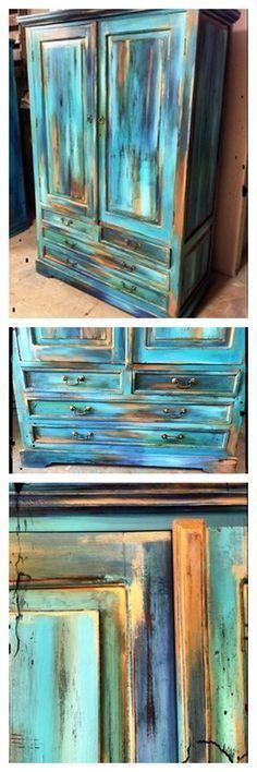 Aprende a crear esta técnica increíble en los muebles, con instrucciones paso a paso y marcas de pintura específica y colores !!