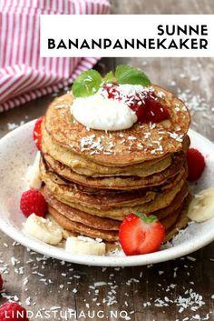 Sunne bananpannekaker fra Linda Stuhaug som er enkle å lage og smaker helt herlig   Sunne pannekaker   Pannekaker oppskrift   Hverdagsinspirasjon   Sunne snacks   Enkel frokost