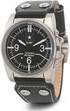 JCPenney WRIST ARMOR Wrist Armor C1 Mens US Army Black Leather Watch