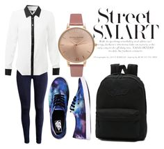 """""""school"""" by maxwell981here ❤ liked on Polyvore featuring Vans and Olivia Burton"""
