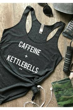 Caffeine and Kettlebells Tank Top, Womens Workout Tank, Coffee, Funny Workout Tank, Fitness Top, Weight Lifting, Lifting Tank, Workout Tee #affiliate
