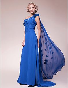 A-line One Shoulder Sweep/Brush Train Chiffon Mother of the Bride Dress – CAD $ 152.89