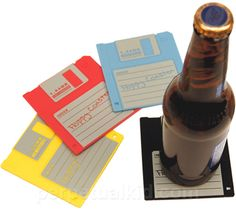 """Floppy Disk Coasters and more Unique Gifts at Perpetual Kid. Do you have the data? Our Floppy Disk Coasters are silicone """"formatted"""" 1.44 MB Floppy Coasters t"""