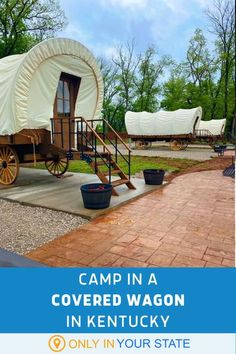 Spend a summer weekend in a charming covered wagon with plenty of amenities at this unique Kentucky campground. You'll also find cabins and a cave on the property. It's a perfect glamping destination for a family vacation OR romantic getaway. Vacation Places, Vacation Trips, Vacation Spots, Places To Travel, Travel Destinations, Vacation Memories, Vacation Ideas, Unique Vacations, Dream Vacations