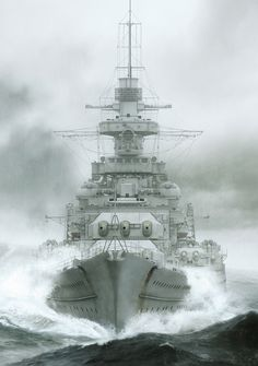 The battleship Gneisenau of the German Kriegsmarine, alternatively described as a battleship and battlecruiser, was launched in survived the war and was scrapped in Military Art, Military History, Poder Naval, Heavy Cruiser, Us Navy Ships, Naval History, Tall Ships, Ship Art, Aircraft Carrier