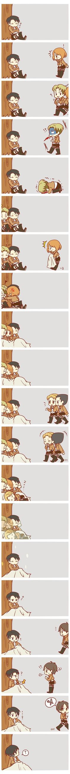 This is Cute but Sad.Levi smiled before he woke.Attack on Titan / Shingeki no Kyojin Attack On Titan Funny, Attack On Titan Fanart, Eren Y Levi, Armin, Otaku, Ereri, Levihan, Kuroko, Aot Gifs