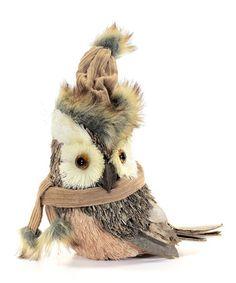 Look what I found on #zulily! Owl Wearing Hat Figurine #zulilyfinds