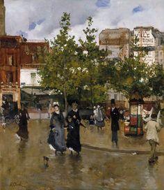 Deux élégantes Place de Clichy - Norbert Goeneutte (1875)