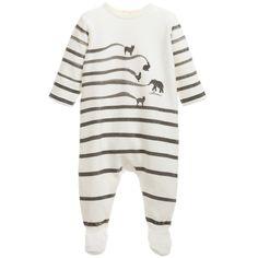 Baby Ivory & Grey Stripy Cotton Velour Babygrow, Catimini