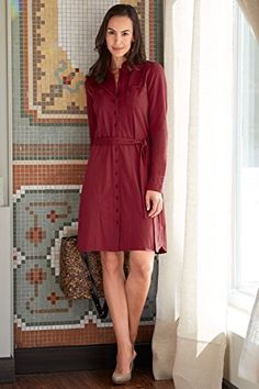 work dress. red.  longer length. buttons. wear to work. women's business casual. belted look.  mature look. fair trade.