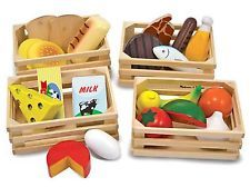 Melissa & Doug Food Groups - Wooden Play Food, Pretend Play, 21 Hand-Painted Wooden Pieces and 4 Crates, H x W x L: Melissa & Doug: Toys & Games Play Food Set, Pretend Food, Pretend Play, Role Play, Kids Play Food, Wooden Basket, Wooden Crates, Group Meals, Food Groups