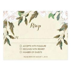 wedding rsvp card ivory floral postcard