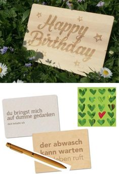 Recycling, Birthday Postcards, Happy Birthday, Place Cards, Poster, Place Card Holders, Laser Engraving, Company Logo, Invitations