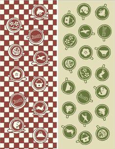 「かまわぬ」とコラボした手ぬぐいは、レッドとグリーンの二色展開。お洒落な上に円位もよくってとても素敵なデザインです。