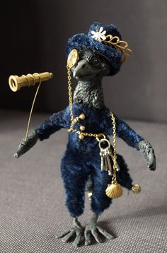 Miniature steampunk crow doll by dreamkeeperfae on etsy