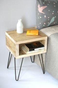 Blondie Bedside Table,Reclaimed Wood Side Table,Scaffolding wood nightstand,handmade vanities,Industrial hairpin legs,Bedroom Furniture by LaMaisonDeFurniture on Etsy