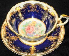 Paragon Cobalt Poignant Gold  Tea cup and saucer