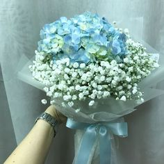 Blue Hydrangea and white Baby Breath Hand Bouquet, Gardening on Carousell