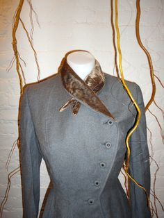 1940's Grey Wool Brown Velvet Victorian Military by TheClutterbox