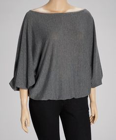 Look what I found on #zulily! Heather Gray Ruffle Boatneck Top - Plus by Poliana Plus #zulilyfinds