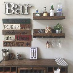 Rustic Wood Wine Rack Shelf & Glass Holder Organizer Unique