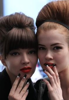 matte red lips, manis, fringe and serious up dos