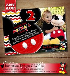 Mickey Mouse Invitation, Clubhouse Mickey Mouse Polka Dot, Photo Invitation, Red Yellow Blue Green B Photo Invitations, Printable Invitations, Invitation Design, Party Printables, Mickey Mouse Birthday Invitations, Free Thank You Cards, Samar, Hot Dog, Elmo Party