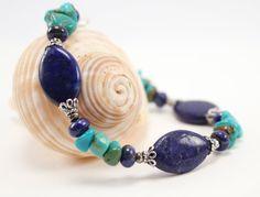 Lapis lazuli Turquoise Silver Bracelet by BlueSeaJewels on Etsy, $35.00