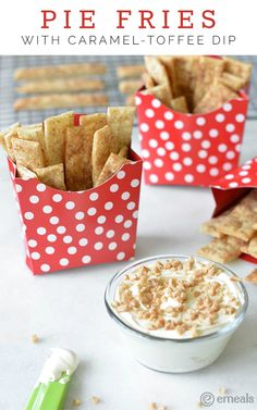 Pie Fries with Caramel-Toffee Dip | The eMeals Blog