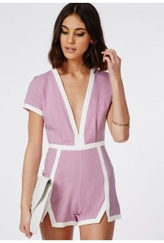 Tylka Lilac Plunge Neck Contrast Trim Romper missguided