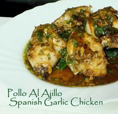 Garlic Chicken - Pollo al Ajillo - Spanish Recipe With Lemon and Aromatic Herbs.One whole chicken of 3lb. approx. Six plump cloves of garlic One bunch of fresh flat leaf parsley Two or three sprigs of fresh thyme (One teaspoon of dried will do) One large whole lemon One small glass of dry sherry (Or a good dry white wine will do) Extra Virgin olive oil. Salt and black pepper