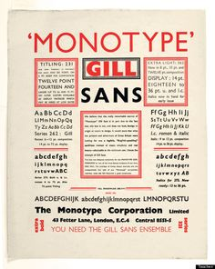 The Gill sans type family. This typeface has been widely used, especially in England. Although a sans-serif typeface, the basis for Gill Sans can be traced to Trajan's column and Caroline minuscules. Vintage Typography, Typography Letters, Typography Design, Vintage Logos, Creative Typography, Retro Logos, Typography Logo, Vintage Ads, Illustration Vector