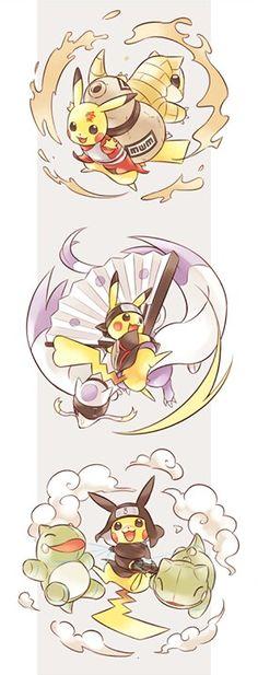 Pikachu as Naruto Characters (Gaara, Temari and Kankurou) Pet Anime, Manga Anime, Anime Kawaii, Anime Crossover, Pokemon Crossover, Pikachu Pikachu, Pokemon Fan Art, Cool Pokemon, Gaara