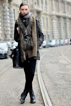 Rely on a faux fur vest to slip under any coat for a textured look.