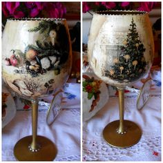 decoupage Christmas Decoupage, Christmas Crafts, Christmas Decorations, Xmas, Unique Mothers Day Gifts, Mother Day Gifts, Easter Art, Painted Wine Glasses, Bottle Crafts
