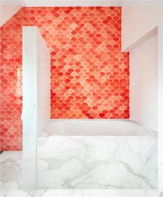 Get inspiration for your home from these fish scale tiles spaces.